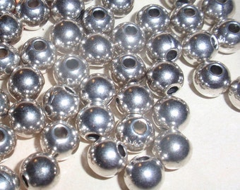 Silver Spacer Accent 6mm Round Beads-24-WHOLESALE PRICING
