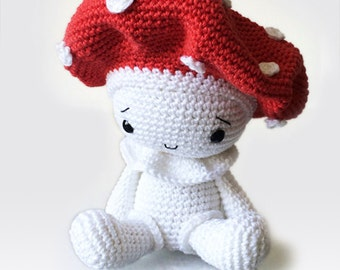 Amigurumi Crochet Mushroom Pattern - Amanita the Mushroom - Stuffed Doll - Plush