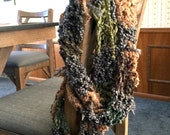 Shabby Multi-Colored Handmade Hand Crocheted Infinity Scarf