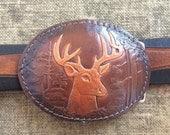 Deer Belt Buckle - Vintage Leather Belt Buckle