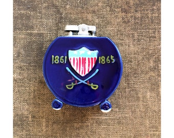 1950s Patriotic Lighter - Made in Japan - Tabletop Lighter - Civil War Lighter