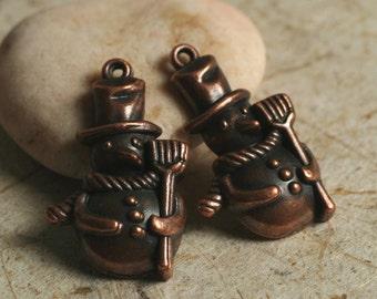 Closeout Snow man antique copper charm 25x14mm, 10 pcs (item ID YWAC3D278)