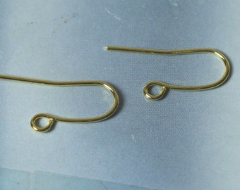 Gold plated fish hook earwire size 20x10mm thick 20g, 24 pcs (item ID XMHB00208GP)