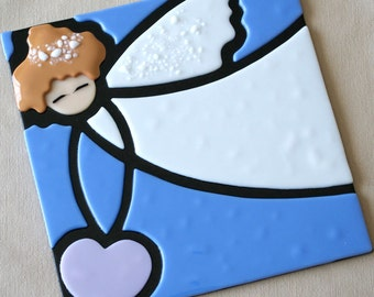 Children's Decor, Fused Glass, Guardian Angel, Baby Gift, Glass Angel, CGGE, Be Unique, Children's Art, Angel Picture, Handmade