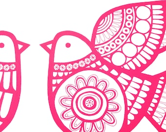 Scandinavian style Dove Games screen print by Jane Foster - pink