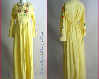 Vintage Cotton Embroidered Bohemian Kaftan Dress / size 8 10 12 medium / BABYDOLL Yellow Caftan Maxi / 1960s 70s  CARLOS of Haiti