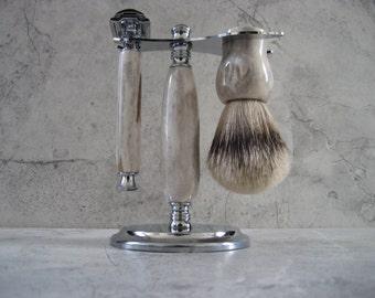 Wet Shaving Set (Antler)(Silvertip Badger) DE Razor