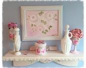 """White Framed ART 8""""x10"""" Hand Painted Pale White Roses Shabby Chic ecs cst schteam svfteam"""
