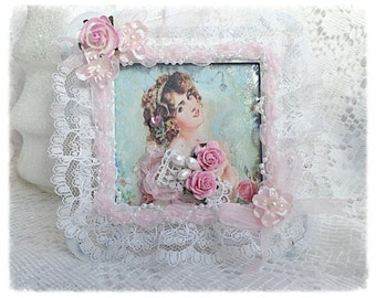 Framed Victorian Vintage Lady Image Ecs Shabby Chic Roses Pink Blue sct schteam svfteam