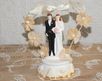 Vintage 1930s chalk wedding cake topper bride and groom cake topper