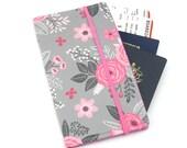 Travel organizer, Travel wallet, passport holder, family travel organizer, passport wallet, travel organizer - Pink Flower Bloom
