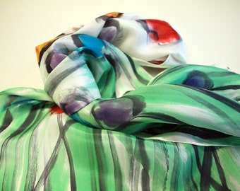 Handpainted Silk Scarf.Woman Silk Scarf.Hand Painted Silk Shawl.Wedding Gift. 55x18 inches. Giveaways.Ideas for her.Silk shawl