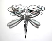 Ethereal Wings - Stained Glass Dragonfly Twirl - Small Clear Home Garden Decor Suncatcher Yard Art Hanging Decoration Insect (READY TO SHIP)