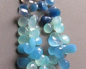 Blue Melange of Pears in Shades From Sky to Navy Top Drilled Gemstones variegated mixed LAST ONE