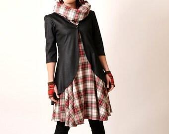 Shiny Black Cardigan - Pleated swallowtail jersey jacket - Shiny snake pattern Black jersey jacket - Office fashion