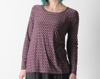 Long purple top, Womens patterned tshirt, Purple long narrow sleeved top, Womens clothing, Womens tops, Womens tees, MALAM, Your size