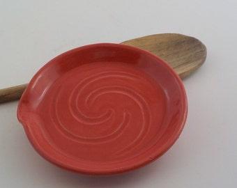 Spoon Rest - Handmade Ceramic Kitchen Coaster - Stoneware Utensil Drip Dish - Bright Tomato Red - Ready to Ship - Cooks Essential  h400