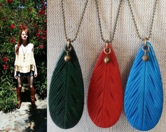 Colorful Boho necklace. Carved Bone Feather. *BULK DISCOUNT* Festival jewelry. large pendant Red, Turquoise blue, Green Native Tribal S41