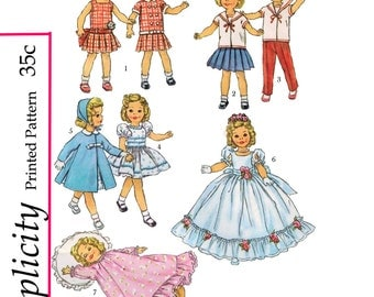 1950's Simplicity 2717 - 12 inch Shirley temple & similar doll sewing pattern