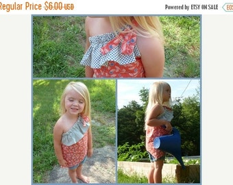 SALE One Shoulder Ruffle Top PDF childrens SEWING Pattern - sizes 18m / 2 / 3 / 4 / 5 / 6 - instant download
