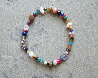 """Colorful Multi-stone and Sterling Silver Bracelet to fit up to a 7.75"""" wrist"""