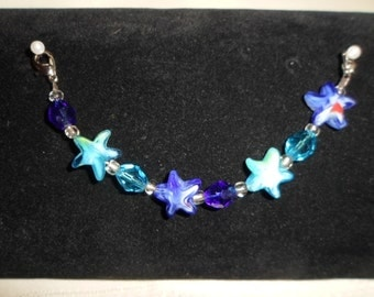 Interchangeable Watchband or Medic Alert Bracelet with Blue and Aqua Stars