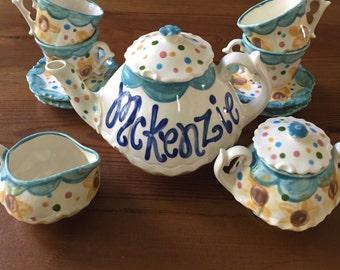 Frozen Fever Tea set Personalized for Little girls //  child's sized Tea Set, Handpainted, Custom, Personalized