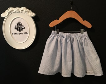 Will fit Size 3T to 5T - READY to MAIL - Children Skirt - Seersucker Blue and White - by Boutique Mia and More