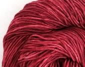 Hand Dyed Aran weight mini Empire Rambouillet Wool 213 yds 4oz Lipstick