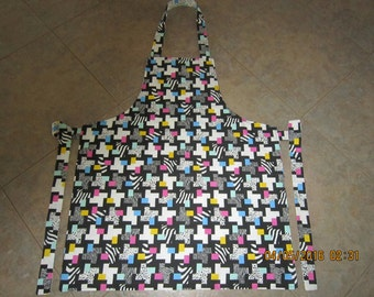 Geometric Animal Print with Bright Pink, Turquoise & Yellow Cotton (coordinating backing-no pockets) - Adult Sized Apron Sale 10% Off*