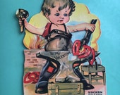 1930s Vintage Hinged Valentine Card-Blacksmith-Two Hearts That Beat As One-Broken Hearts Mended-Made in USA