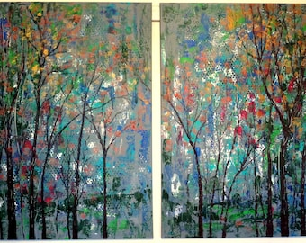 X Large painting set 60 x 40 - oil & Acrylic colors : Grey  - Copper - Green  Trees - palette knife texture - FREE Shipping in cont. US