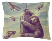 Slothzilla Sham // Pillow Cover // Pillow Case // Made in USA