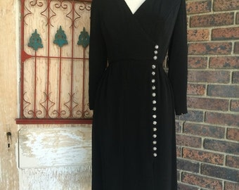 Fall sale 1960s dress Fred Perlberg dress 60s dress black dress size medium Vintage dress designer dress mod dress