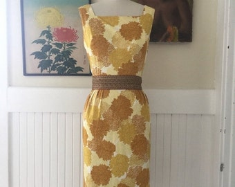 Fall sale 1950s dress wiggle dress vintage dress size small fitted dress yellow dress 26 waist rockabilly dress