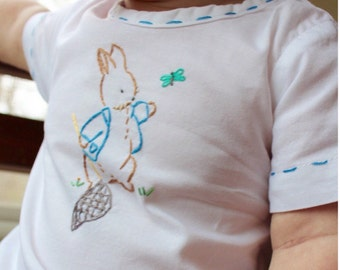 Peter Rabbit Playing Outside - Hand Embroidered Vintage Style Baby Cotton Romper
