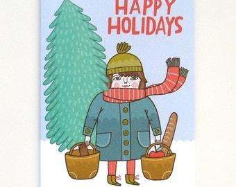 Christmas Shopping - Greeting Cartd