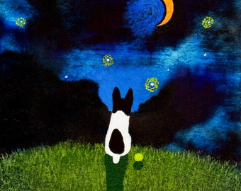 Rat Terrier Dog Folk art print by Todd Young painting STARRY SKY