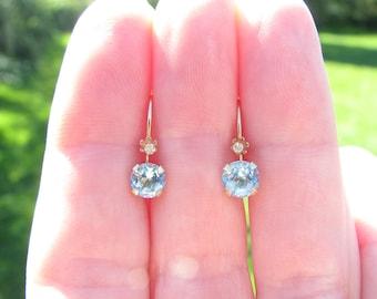 Sparkling Blue Zircon Diamond Earrings, Petite Vintage Leverback Dangles in 18K Gold, Sweet and Dainty