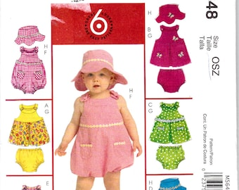 McCalls 5648 Infants Baby Girls Dresses Rompers Hat and Panties Sewing Pattern Sizes NB-L Out of Print UNCUT