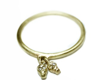Double Mini Skull Charm Dangle Ring in 10K Gold and 14K Gold with Diamonds