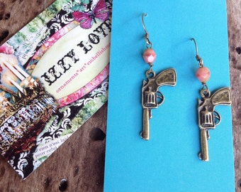 Czech glass and antique brass gun earrings