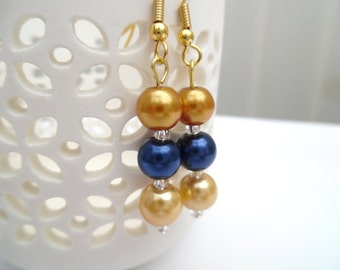 Navy Blue and Mustard Yellow Pearl Earrings, Bridesmaid Earrings, Jewelry For Bridesmaids, Beaded Earrings, Wedding Jewelry, Dangle Earrings