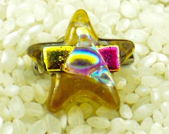 Iridescent Glass Star Brooch -Small Pin- Golden Yellow with Fused Layers of Shimmering Dichroic Textured Iridescent Colours - 2cm Diameter