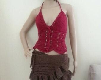 CROCHET  HALTER TOP, burgundy, festival clothing, Crochet Crop top, music festival clothing, clubwear, hippie festival top, music festival