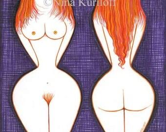 Mature Redhead Nudes Original Art Female Women figurative Stylized Bedroom
