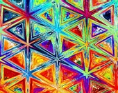 Fashion Artist Created Quilting Cotton Fabric Brillant Colors Star Triangles