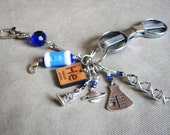 Ravenclaw Science FTW Knitter's Chatelaine with Non-Snag Stitch Markers, Row Counter & Folding Scissors on a Decorative Clasp