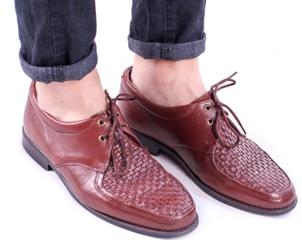 size Men 8,5 WOVEN BROGUES 80s Basket Weave Bourbon Brown Leather Shoes Retro 1980s Shoes Oxfords Gift for Men sz Us Men 8.5, Eur 42 , Uk 8