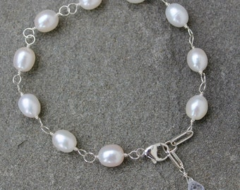 White Freshwater Pearl Adjustable Bracelet, Sterling Silver and Pearl Link Bracelet, Wire Wrapped Silver Pearl Bracelet